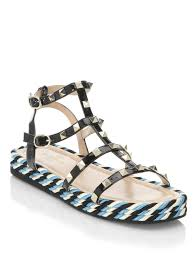 lyst valentino torchon leather sandals in black
