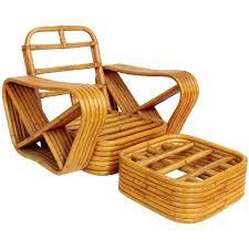 Basket Ottoman by Paul Frankl Designed Rattan