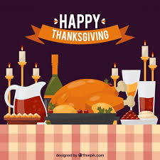 thanksgiving dinner background with candles vector free