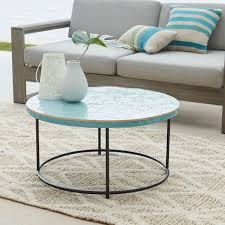 mosaic tiled coffee table blue spider web west elm