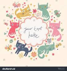 gentle cartoon background cute cats butterflies stock vector