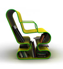 side view green stylish curved lounge chair with book storage