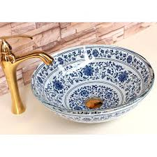 blue glass vessel sink vessel sinks blue and white vintage chinese style