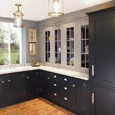 Black Shaker Kitchen Cabinets The Bottom Cabinets And Light Grey Uppers Home Ideas