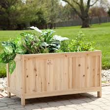 backyard wood raised veggie garden planter box with legs and herb