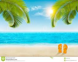 vacation background with palm trees and blue sea stock
