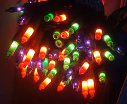 halloween string lights multicolor black wire orange green purple