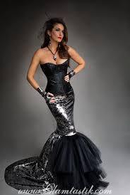 halloween prom custom size black and silver metallic mermaid style skull