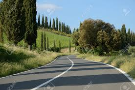the via cassia in tuscany is a beautiful road to run stock photo