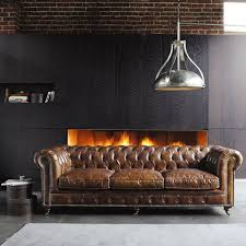 Brown Leather Chair And A Half Design Ideas Furniture Brown Leather Sofa And Industrial Half Round Pendant