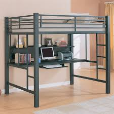 delightful loft bed with two sections desk underneath bedroom