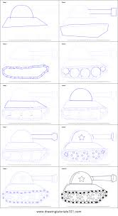 draw tank kids printable step step drawing sheet