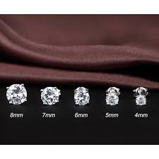 7mm diamond sterling silver diamond stud earrings fashion cubic