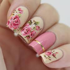 elegant rose flower water decal nail art stickers design from