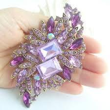 elegant lavender rhinestone crystal flower brooch art deco crystal