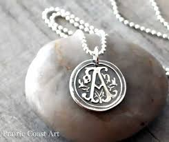 sterling silver monogram necklace pendant personalized wax seal initial necklace custom initial