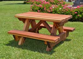 Round Redwood Picnic Table by Toddler Wooden Picnic Table With Attached Benches Forever Redwood