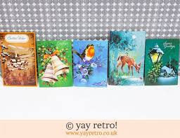genuine vintage christmas cards and christmas cake decorations for