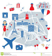Paris France On A Map by Many Paris France Icons Landmarks And Attractions Stock Vector