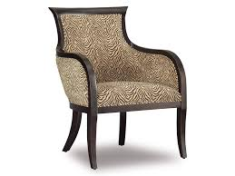 Zebra Accent Chair Beige Tufted Leather Accent Chair Design With Varnished Wood Arm