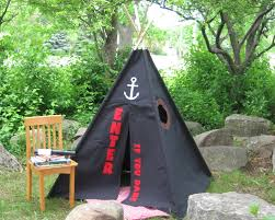 accessories black colored teepee for kids with pirates theme for