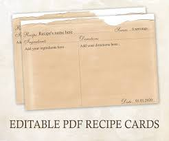 printable recipe cards template editable recipe cards 4x6 rustic recipe cards editable pdf printable