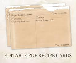 printable recipe cards 4 x 6 editable recipe cards 4x6 rustic recipe cards editable pdf