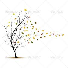 fall tree in autumn with wind blowing vector fall trees