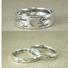 personalized rings for personalized name engraved heart shaped promise rings for couples