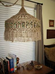recycled chandeliers macrame swag lamp or chandelier take your pick not hard wired