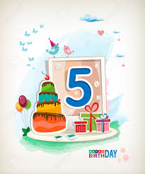 fifth birthday card birthday cake and photos royalty free
