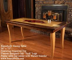 dining table with razorback engraved on poplar walnut border and