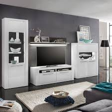 Wohnzimmerschrank Lack Wohnwand Padua Anbauwand Wohnkombi In Weiß Hochglanz Und Grau Ebay