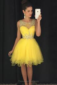 short prom dress yellow prom dresses tulle homecoming dress