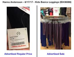 hanna andersson pricing database truth in advertising