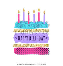 vector illustration happy birthday cake card stock vector