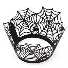 12pcs cupcake wrappers liners for halloween decoration laser cut