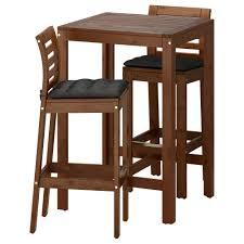 Outdoor Bar Table And Stools äpplarö Bar Table And 2 Bar Stools äpplarö Brown Stained Hållö
