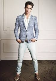 What To Wear With Light Jeans Men U0027s White And Blue Gingham Blazer White Dress Shirt Light Blue