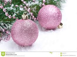 pink christmas pink christmas balls and spruce branches selective focus stock