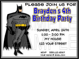 batman birthday invitation templates free boys birthday party