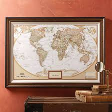 World Map Poster Large Us Political Map Earthtoned Poster Size And Framed With United