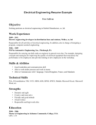 Electrical Engineer Resume Samples by Resume Objective Examples Engineering Intern Augustais