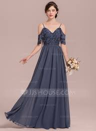 bridesmaid gown a line princess v neck floor length chiffon lace bridesmaid dress