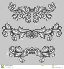 set of baroque ornamental antique silver scrolls stock vector