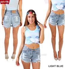 vintage levis high waisted frayed women denim shorts ripped size 6