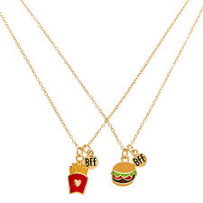 gold best friends necklace images Best friends gold tone burger and fries pendant necklaces jpg
