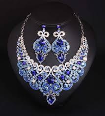 blue crystal necklace set images Online shop vintage jewelry set women banquet party crystal jpg