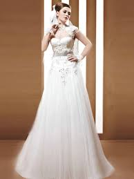 a line high collar cap sleeves wedding dress with sheer back a