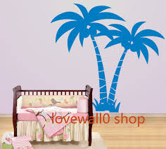summer two coconut tree with fruit grass leaf leaves room house summer two coconut tree with fruit grass leaf leaves room house wall sticker art murals stickers